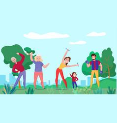 Family sport horizontal composition vector