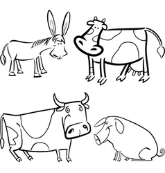 Farm animals set for coloring vector