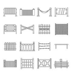 Fencing icons set outline style vector