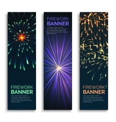 Fireworks vertical banners set vector