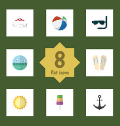 Flat icon summer set of recliner ship hook vector