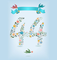 floral number fourty four with ribbon and birds vector image