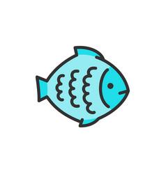 flounder fish aquatic animal flat color vector image