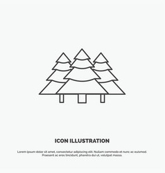 Forest camping jungle tree pines icon line gray vector