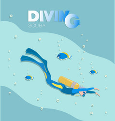 Girl scuba diver swims under water vector