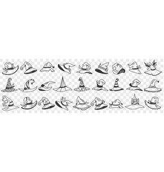 gnome cap styles doodle set vector image