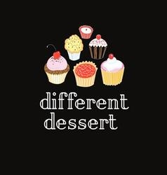 graphic delicious cakes on a dark background vector image