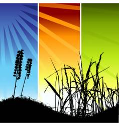 grass silhouette on meadow vector image