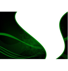 green and black abstract wave abstract background vector image