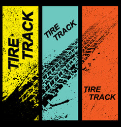 Grunge tire tracks banners vector