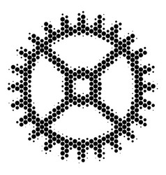 halftone dot clock gear icon vector image