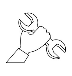 hand with wrench key isolated icon vector image