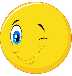Happy emoticon cartoon with eye blinking on isolat vector