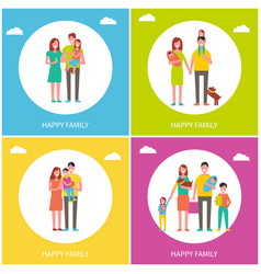 Happy family set of posters vector