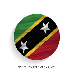 happy independence day saint kitts waving flag vector image