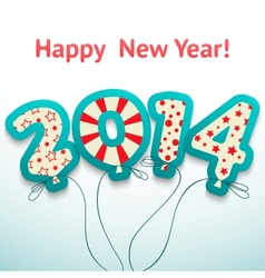 happy new year 2014 retro greeting card vector image