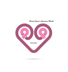 Heart shape amp pink ribbon iconbreast cancer vector