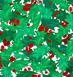 Holly berries seamless pattern vector