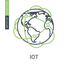 internet of things icon with editable stroke vector image