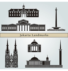 Jakarta landmarks and monuments vector