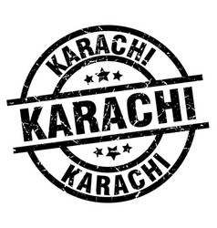Karachi black round grunge stamp vector