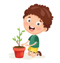 kid planting vector image