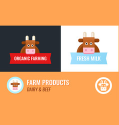 label for cow farm cartoon cow mascot with vector image