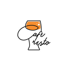 Lemon juice drink logo with clean simple line art vector