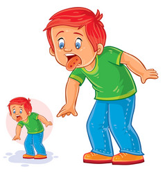 little boy with a rash on the tongue vector image
