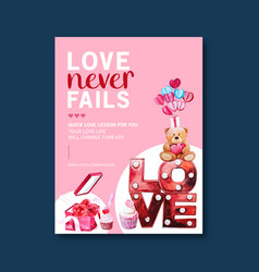 Love poster design with roses teddy bear vector