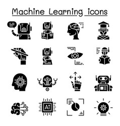 Machine learning icon set graphic design vector