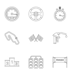 Machine race icons set outline style vector