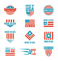 Made in usa flag emblem set vector