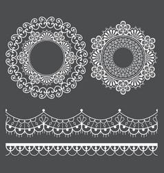 Mandala lace pattern and horizontal design vector