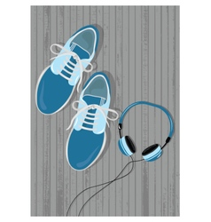Mens casual shoes and playe vector