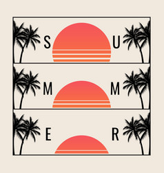 minimalistic summer sunset for summer party or vector image