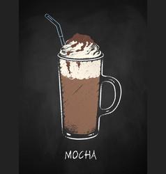 mocha coffee cup isolated on black chalkboard vector image