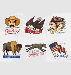 native american set old labels or badges for vector image