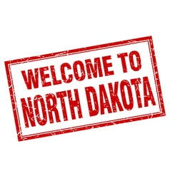 North Dakota red square grunge welcome isolated vector image