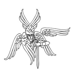 Orthodox six-winged seraph with a sword vector