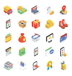 Pack shopping isometric icons vector