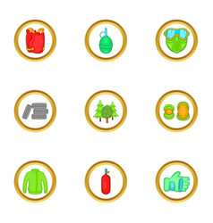 paintball things icons set cartoon style vector image