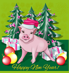 Piglet in a new year s cap vector
