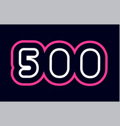 Pink white blue number 500 logo company icon vector