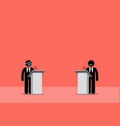 politicians debating on the stage artwork depicts vector image