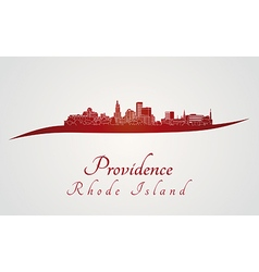 Providence skyline in red vector image
