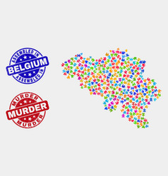 Puzzle belgium map and scratched assembled and vector