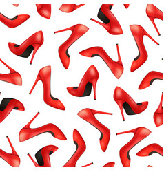 Realistic detailed 3d woman high heel red shoes vector