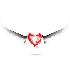 red heart and gray wings design vector image