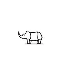 Rhino small style line logo design vector
